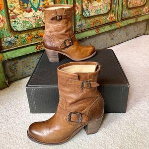 Cognac Frye Karla Engineer Back Zip Mid Boots 8